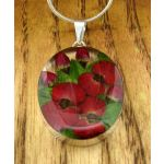 Oval with Poppy and Rose Silver Pendant
