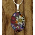 Silver Oval Pendant with Poppy, Daisy & Mixed Flowers