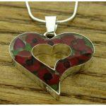 Heart Poppy Silver Flower Pendant