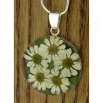 Handmade Silver Pendant with Daises