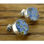 Circle Forget-me-not Silver Stud Earrings