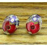 Oval Real Flower Silver Stud Earring