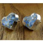 Heart Forget-me-not Silver Stud Earrings