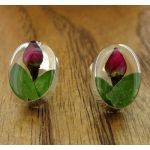 Oval Rose Silver Stud Flower Earrings