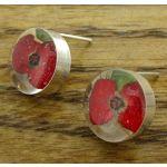 Poppy Silver Stud Earrings