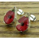 Teadrop Poppy Silver Stud Earrings