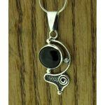 Spiral Eye Onxy Silver Pendant