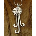 Spiral with Curved Drop Silver Pendant (144)