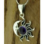 Amethyst Sun and Moon Silver Pendant