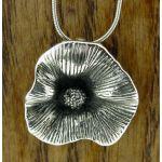 Oxidised Silver Poppy Pendant