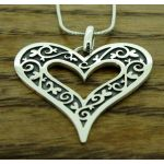 Oxidised Flora Heart Silver Pendant (267)