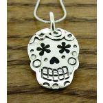 Day of the Dead Candy Skull with Flowers Silver Pendant