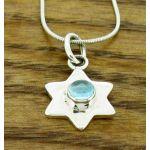 Topaz Hammered Star Silver Pendant