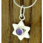 Amethyst Hammered Star Silver Pendant (288)