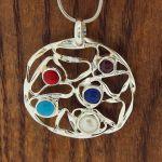 Five Stone Circle Silver Pendant