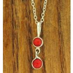 Double coral silver pendant