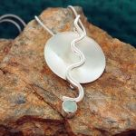 Chalcedony Flame Silver Pendant