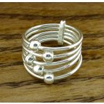 Strandds of Spheres Silver Ring