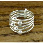 Strandds of Spheres Silver Ring