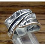 Curled Feather Silver Ring