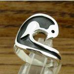 Oxidised Bird Silver Ring