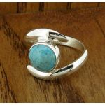 Turquoise Twist Silver Ring