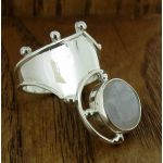 Zeppelinistic Moonstone Polished Silver Ring