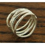 Waved Strand Silver Ring