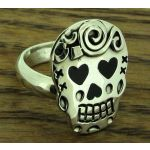Day of the Dead Candy Skull with Hearts Silver Ring