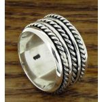 Trio Twist Spinner Silver Ring