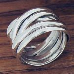 Polished Strands Silver Ring