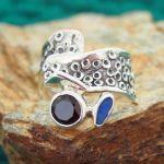 Garnet & Australian Opal Silver Ring