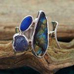 Labradorite, Tanzanite & Opal Silver Ring