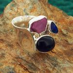 Amethyst, Ruby & Australian Opal Silver Ring