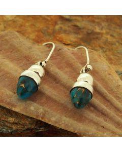 Turquoise Bronze Acorn Silver Earrings