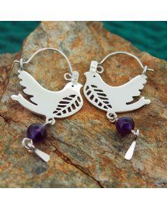 Silver Bird Earrings with Amethyst