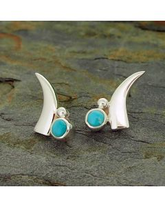 Turquoise Cuernito Silver Stud Earrings