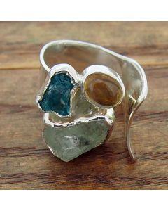 Blue Apatite, Aquamarine & Citrine Silver Ring