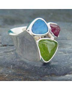 Peridot, Australian Opal & Pink Tourmaline Silver Ring
