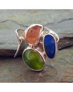 Peridot, Morganite, Australian Opal Silver Ring