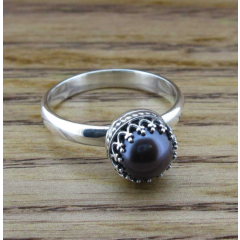 Oriental Purple Pearl Silver Ring