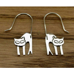 Unusual Cat Silver Earrings