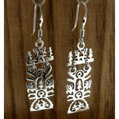Rectangular Tree of Life Handmade Silver Earrings