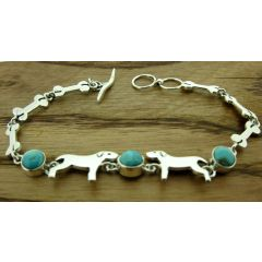 Dogs with Turquoise Silver Bracelet