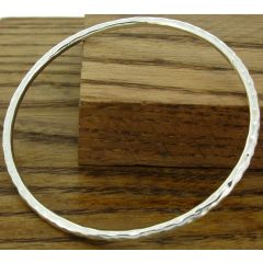 Hammered 2mm Silver Bangle