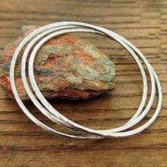 Hammered 3-in-1 Silver Bangle