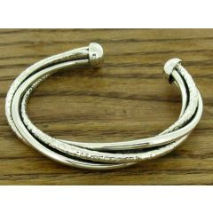 Hammered Twist Silver Cuff