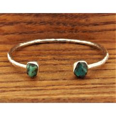 Double Turquoise Cuff Silver Bracelet