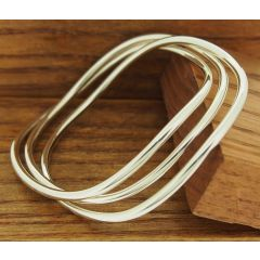Polisihed Waved 3-in-1 Silver Bangle