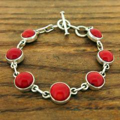 Coral Circles Silver Bracelet